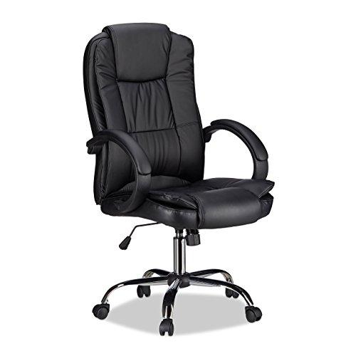 Relaxdays Bürostuhl, höhenverstellbarer Drehstuhl, ergonomisch, bequem, 120 kg belastbar, HBT: 125 x 65 x 65 cm, schwarz -