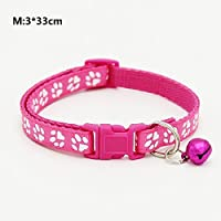 ZFFde Paw Print Design Pet Collar Ajustable Cat Collar con Bell Quick Release Hebilla Collar Collar de Seguridad para Gatos (Rose Red M) para tu Gato Love Pet