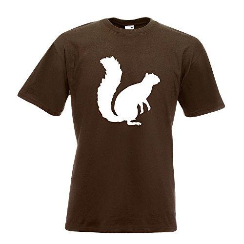Kiwistar Eichhörnchen - Squirrel T-Shirt in 15 Verschiedenen Farben - Herren Funshirt Bedruckt Design Sprüche Spruch Motive Oberteil Baumwolle Print Größe S M L XL XXL Chocolate