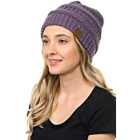 93222f336b3b59 BYSUMMER C.C.Soft Cable Knit Warm Fuzzy Lined Slouchy Beanie Winter Hat