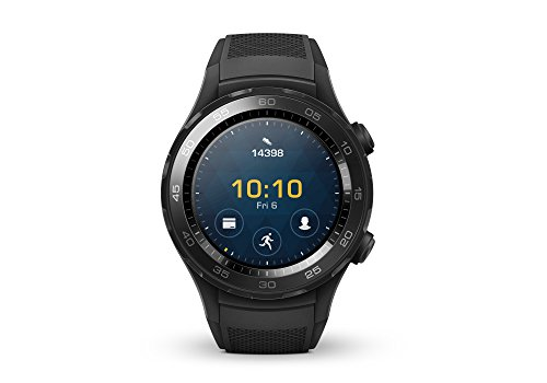 Huawei Watch 2 Smartwatch, 4 GB ROM, Wear OS by Google, Bluetooth, Wifi, Monitoraggio Frequenza Cardiaca, Schermo da 390 x 390 Px, GPS + Glonass, Resistente all'acqua (IP68), Nero (Carbon Black)