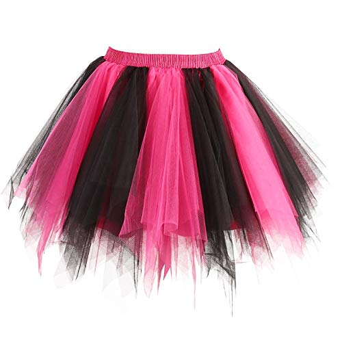GirstunmBrand Damen 50er Vintage Tüllrock Petticoat Mehrfarbig Bubble Tanzkleid Rock Schwarz Fuchsie-XXL