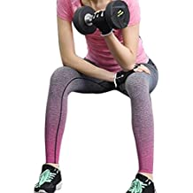 HARRYSTORE Mujer pantalones elásticos de yoga Gradiente de color yoga pantalones especiales leggings deportivos y apretados fitness