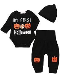 SamMoSon ☀☀Camisas para Bebés Niño,Carta De Bebé Recién Nacido Mameluco Tops Calabaza Prin Pantalones Cap Halloween Clothes Sets