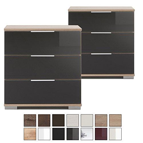 e-combuy Möbel   2er Set Nachtschrank NIGO, 3 Schubladen, Höhe 58 cm, Nachtkonsole für Boxspringbett, Glas-Front grau, eiche-sägerau