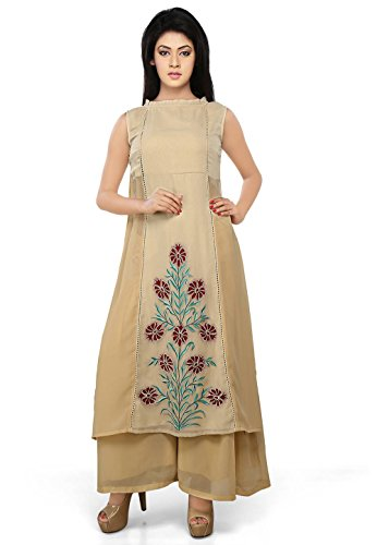 Utsav Fashion Embroidered Georgette Anarkali Suit in Beige Colour