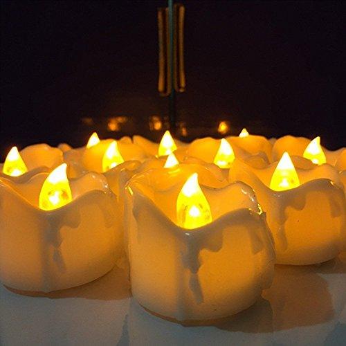 ück) batteriebetrieben Kunststoff LED Teelichter Flammenlose Tee Kerze für Hochzeit Geburtstag Party Dekoration (Lustige Ideen Für Halloween-partys)