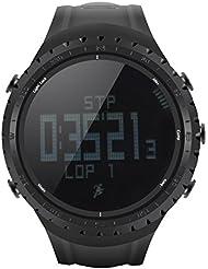 Sunroad FR801 Montre sports / Étanche / Podomètre / Compteur de Calories / Thermomètre / Baromètre / Altimètre / Boussole digitale / Noir