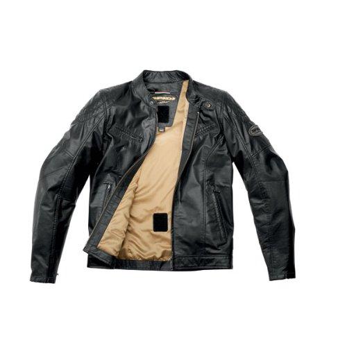 Spidi Ring Jacke Motorrad-Leder, Vintage, Typ Cafe Racer, mit Protektoren (Cafe Jacke Leder)