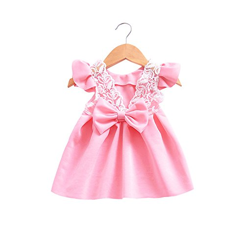 SANFASHION Mädchen Prinzessin Kleid Kleinkind Baby Bowknot Rückenfreies Outfits Kleidung Spitzenkleid Festlich Party Kleid Festzug Hochzeit - Wikinger Kleinkind-shirt