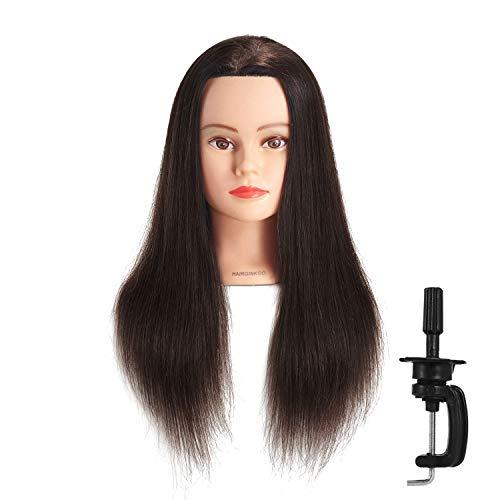 Hairginkgo 51cm - 56cm 100% Cabello Humano Maniquí de peluquería formación cabeza con libre pinza para mesa (91812W0214)
