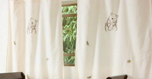 Baby Bedding Design - Coppia di tende Winnie the Pooh, colore grigio, 2 pezzi