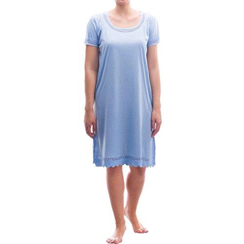 lucky-schlafshirt-chemise-de-nuit-a-manches-courtes-avec-dentelle-bleu-x-large
