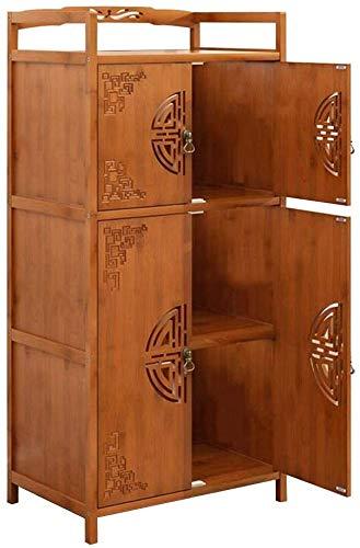 Lagerschränke mit Türen, Küche vertikales Regal Weinregal (Farbe : Teak Color-4 doors-60 * 38 * 118cm)