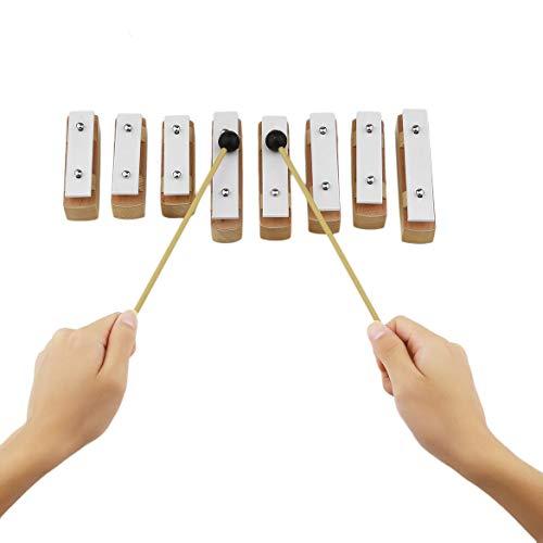 TB8A Sonder Ausführung Aluminium Holz Musikinstrument 8 Hinweise aus Holz Xylophon Frühe Kindheit Weisheit Musik-Instrument (white & Holzfarbe)