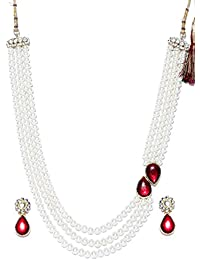 Shining Diva Fashion Kundan Wedding Party Wear Stylish Pearl Necklace Set For Women Traditional Jewellery Set...