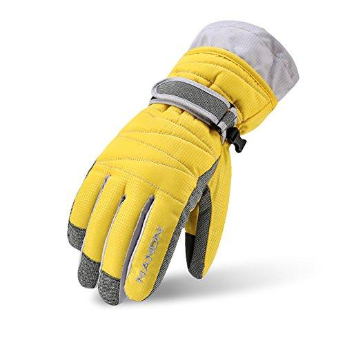 Rmine Ski Handschuhe Winddicht Regendicht Thermohandschuhe für Herren Damen Junge Kinder (Gelb, L (Damen))