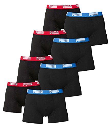 PUMA Herren BASIC Boxer Boxershort Unterhose 8er Pack in vielen Farben (Red / Blue, XL) - Blue Cotton Boxer