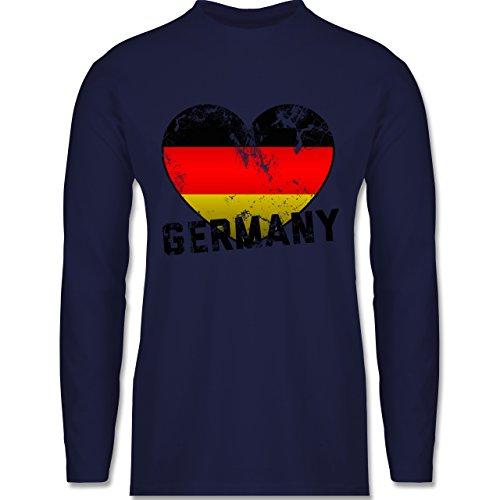 Shirtracer Fußball-WM 2018 - Russland - Germany Herz Vintage - Herren Langarmshirt Navy Blau