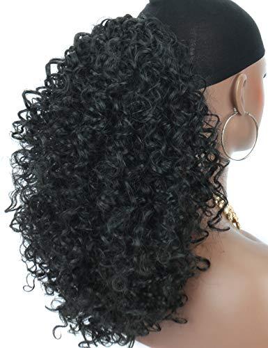 Kordelzug Haarteil (Kalyss leichte synthetische lose verworrene lockige Haarverlängerung loser geflochtener Pferdeschwanz Haarteil mit zwei Klammern und einem einstellbaren Kordelzug)