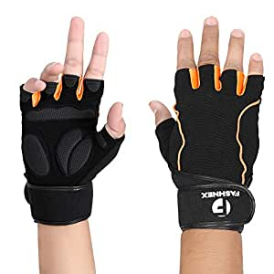 FASHNEX Gym Gloves for Weightlifting, Crossfit, Fitness & Other Sports with Wrist wrap Support for Men & Women, XL Size
