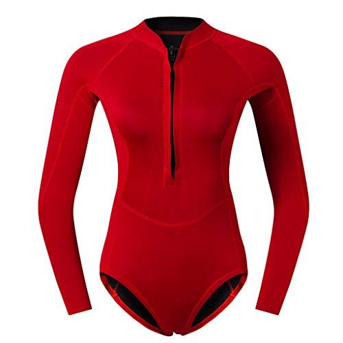 perfk Frauen Neopren Badeanzug Einteiliger Schwimmanzug Langarm Neoprenanzug Tauchanzug Surfanzug Figurformend Bademode - Rot L