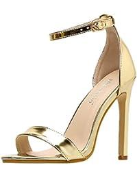 18e0aa657ceb8b Escarpins Femme - OSYARD Cheville Bride Chaussure de Soiree en Vernis Talon  Aiguille 11cm Sandales Bout