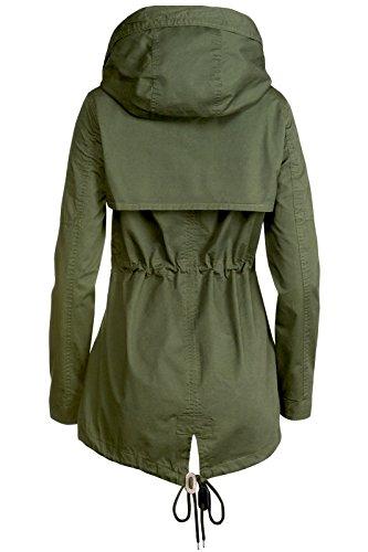 Trisens Damen Jacke ÜBERGANGSJACKE Trenchcoat Kapuze 100% Baumwolle LEICHT KURZ, Größe:S, Farbe:Olive - 5