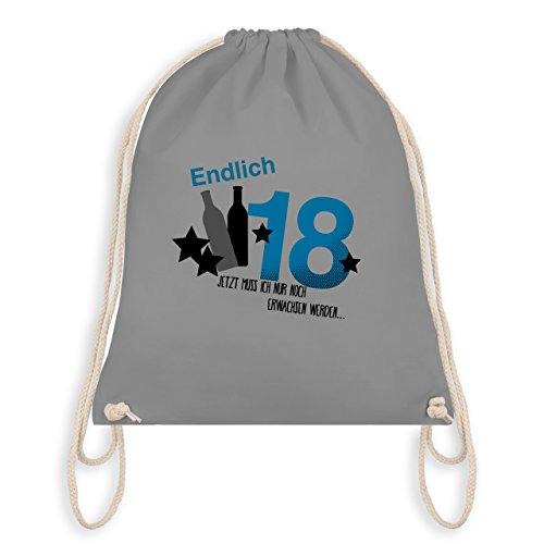Geburtstag - Endlich 18 Blau - Turnbeutel I Gym Bag Hellgrau