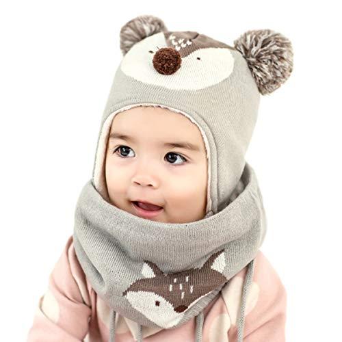 DORRISO Unisex-Baby Jungen Mädchen Mütze Schal Set Frühling Winter Herbst Beanie Strickmütze Niedlich klein Fuchs mütze