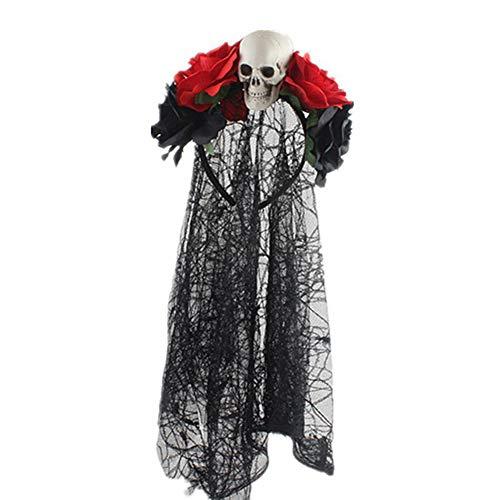 Da.wa nero strega pizzo fascia festa di halloween puntelli copricapo fascia per capelli strega sequin cap ghost festival costume decorazione, panno, size e, 13 * 12cm