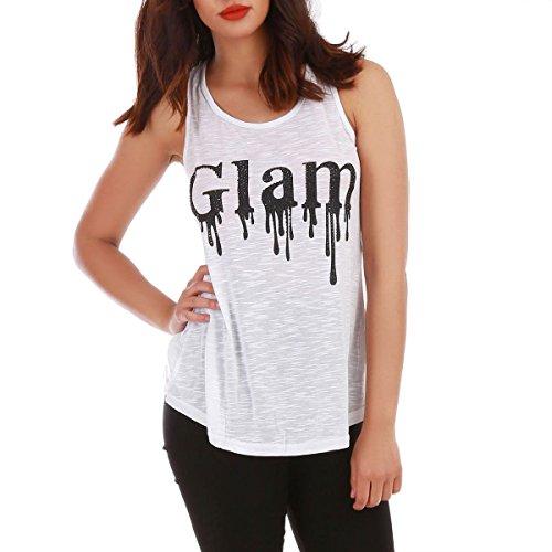 """La Modeuse - Débardeur avec texte floqué """"Glam"""" Blanc"""
