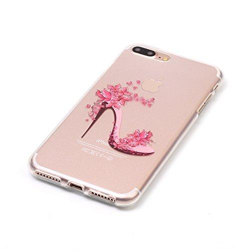 iPhone 8 Plus Hülle,iPhone 7 Plus Hülle,Handyhülle iPhone 8 Plus / 7 Plus Schutzhülle,ikasus® TPU Silikon Schutzhülle Case Hülle für iPhone 8 Plus / 7 Plus,Durchsichtig mit Bunte Gemalt Muster Handyhü Schmetterling High Heels
