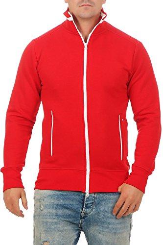 Herren Sweatjacke sportlich ohne Kapuze - Gestreifte Trainingsjacke - Sweatshirtjacke - Zip-Jacke Reißverschluss mit Kragen, Größe:M, Farbe:Rot