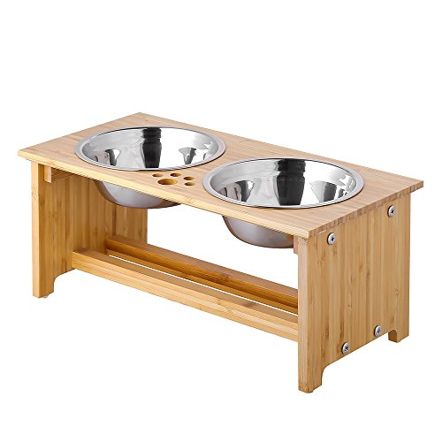 FOREYY Raised Dog Bowls for Cats and Dogs - Bamboo Elevated Dog Cat Food and Water Bowls Stands Feeder Dishes with 2 Stainless Steel Bowls and Anti Slip Feet (Medium - 18 cm high)