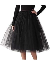 9881a146dd VJGOAL Moda Casual de Las Mujeres Color sólido Gasa Plisada hasta la  Rodilla Falda de Tul