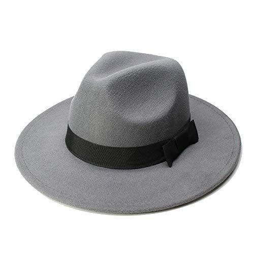 SHANGGUAN Big Size Wome Men Fedora Hut Wolle Sombrero Fedora Panama Jazz Hut Black Ribbon * (Farbe : Grau, Größe : 59-61CM) - Sombrero Panama
