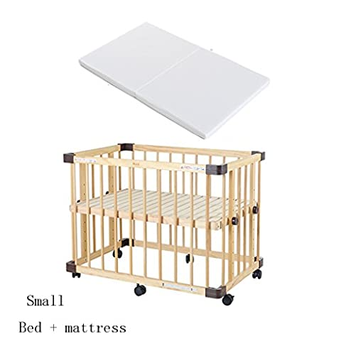 TYJ Cots Crib Multifunction Children's Bed Solid Wood Environmental Protection Simple Fashion Tasteless No Paint Safety Baby Bed With Roller With Mattress ( Size : S )
