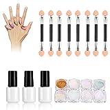8 Farbe Nagel Pulver, Maniküre Kit Nail Art Spiegel Glitter Pulver mit Basis & Decklack Zubehör DIY Dekorationen
