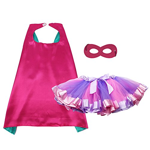 Kinder Superheld Party Kostüme verkleiden sich Umhänge und Maske mit TUTU Rock für Mädchen Prinzessin Kostüm Geburtstag Party ()