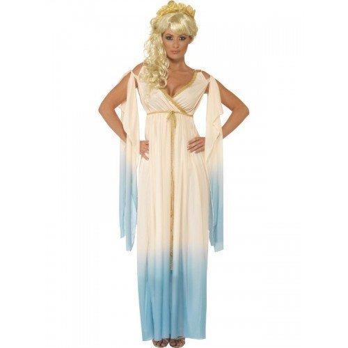 Damen Griechische Göttin Prinzessin Aphrodite Römische Toga Maxi Kostüm Kleid Outfit UK 12-22 Übergröße - Beige, 12-14