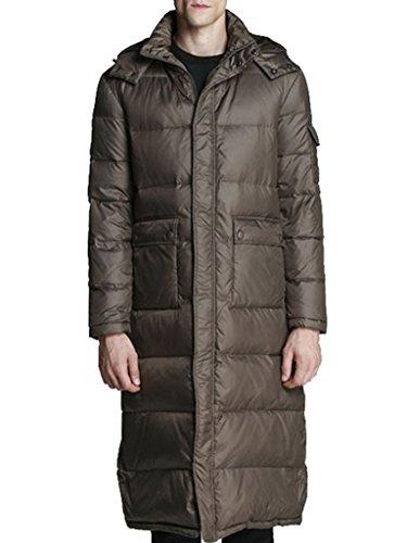 LYXCLS Men's Warm Hooded Winter Duck Down Long Down Coat Jacket Coffee