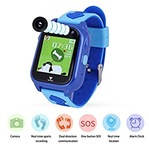 VBESTLIFE Kinder Smart Armband,IP68 Wasserdichte Dual Chat Smart Armband für Jungen,mit Schrittzähler/SOS Notruf/Lange Standby Zeit,unterstüzt Android 3.0 und höher, iOS6.0 und höher