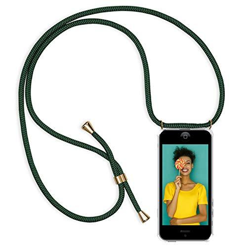 Zhinkarts Handykette kompatibel mit Apple iPhone 5 / 5S / SE - Smartphone Necklace Hülle mit Band - Schnur mit Case zum umhängen in Grün