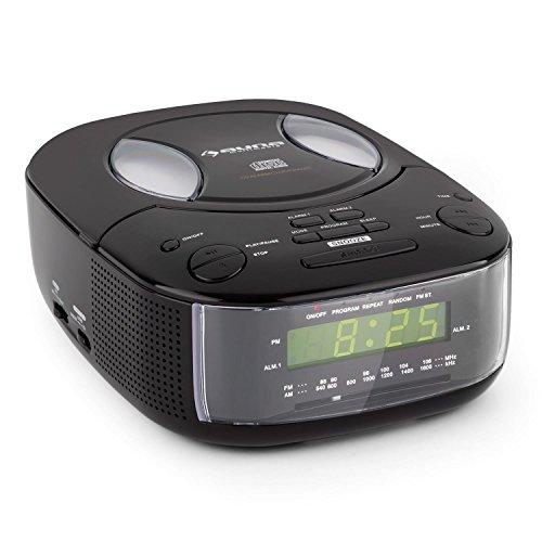 auna Dreamee Radio réveil (Lecteur CD intégré, Tuner FM AM, AUX, Sortie Casque, Double Alarme, Fonction Snooze, Haut-parleurs stéréo) - Noir
