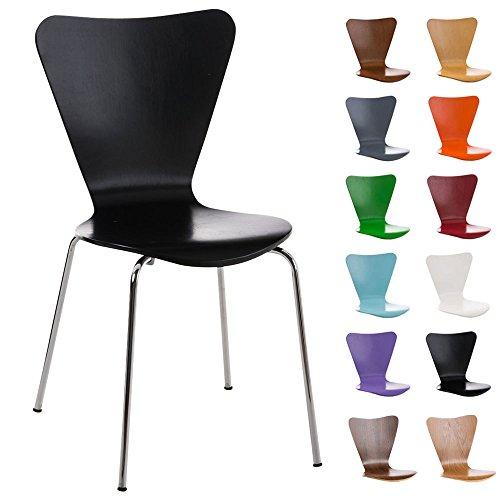 CLP Konferenzstuhl Calisto mit Holzsitz und stabilem Metallgestell I Platzsparender Stuhl mit Einer...