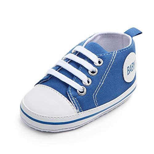 SHIZHESHOP Neugeborenes Baby Premium Weiche Sohle Infant Prewalker Kleinkind Sneaker Schuhe Grundlegende Canvas Sneaker Schuhe Infant Erste Wanderer (Color : Navy Blue, Size : M) Infant Navy Schuhe