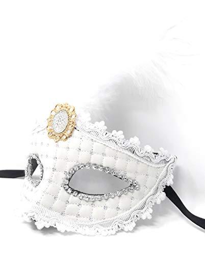 Fiestas Guirca Maske Karneval Augenmaske Damen Federmaske Venezianischer Stil weiß mit Strass