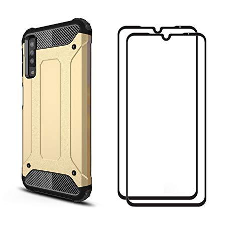 Capa Dedux Adequado para Xiaomi Mi 9 + [Pack 2] Película Protetora de Vidro Temperado Ultra-Thin Caso TPU Hybrid Double Layer Case, Ouro