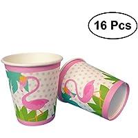 BESTONZON Taza de papel disponible del partido de la vajilla del partido de Flamingo 16pcs para las fuentes del partido de Flamingo hawaiano